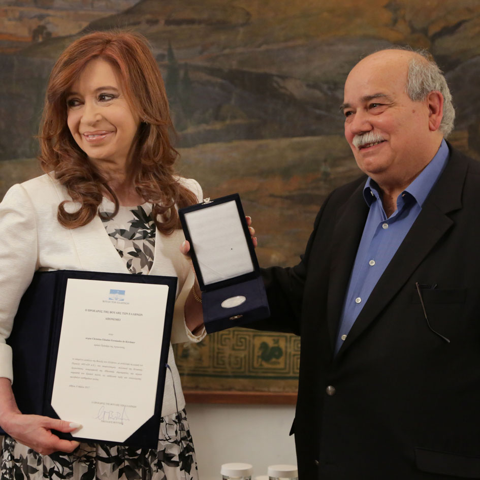 Meeting of the President of the Hellenic Parliament Mr Nicholaos Voutsis with the former President of Argentina Ms Cristina Fernandez de Kirchner